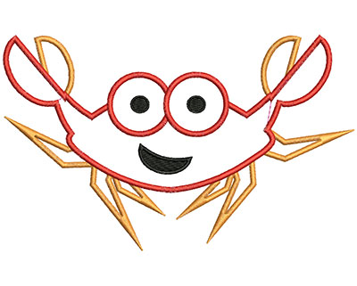 Embroidery Design: Crab Applique 6.75w X 4.16h