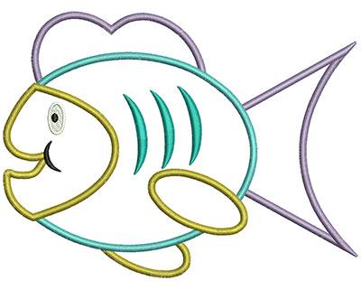 Embroidery Design: Fish Applique 6.63w X 4.97h