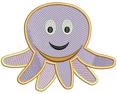 Embroidery Design: Octopus Mylar 5.3w X 4.12h