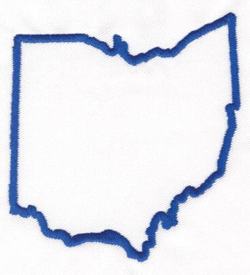 "Embroidery Design: Ohio Outline3.61"" x 3.37"""