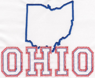 """Embroidery Design: Ohio Outline and Name5.32"""" x 6.40"""""""