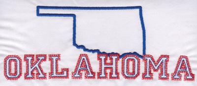 "Embroidery Design: Oklahoma Outline and Name3.16"" x 8.03"""