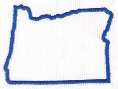 "Embroidery Design: Oregon Outline2.57"" x 3.39"""