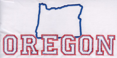 """Embroidery Design: Oregon Outline and Name3.76"""" x 7.98"""""""