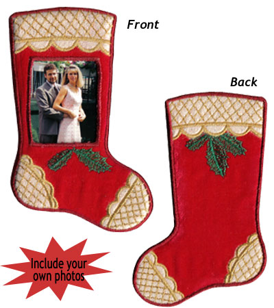 "Embroidery Design: Christmas Ornament Stocking with Detail3.35""w X 5.84""h"