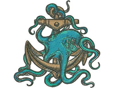 Embroidery Design: Octopus Anchor Sm 6.93w X 7.02h