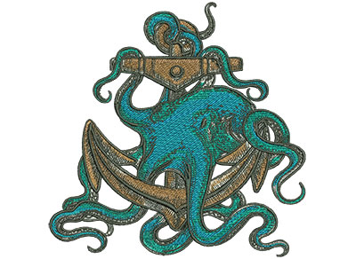 Embroidery Design: Octopus Anchor Low Density Sm 6.92w X 7.01h