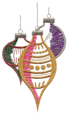 "Embroidery Design: Christmas Tree Ornaments2.65"" x 4.37"""