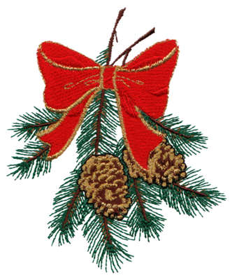 "Embroidery Design: Christmas Pine Cones3.60"" x 4.22"""