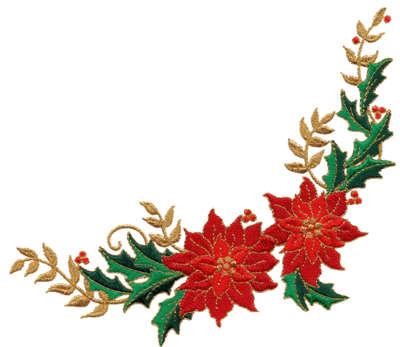 "Embroidery Design: Poinsettia Floral corner6.66"" x 5.93"""