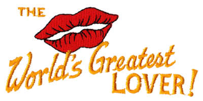 "Embroidery Design: World's Greatest Lover4.18"" x 1.88"""