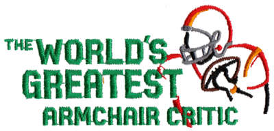 """Embroidery Design: World's Greatest (Armchair Critic)4.45"""" x 2.08"""""""