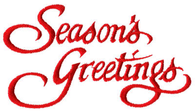 "Embroidery Design: Season's Greetings4.18"" x 2.39"""