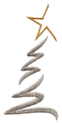 "Embroidery Design: Modern Christmas Tree1.86"" x 3.97"""