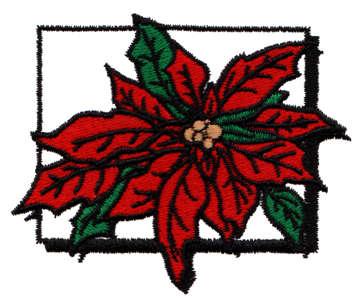 "Embroidery Design: Bordered Poinsettia3.27"" x 2.67"""