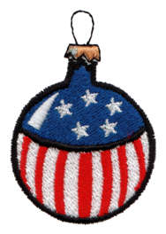 "Embroidery Design: Flag Ornament1.58"" x 2.31"""