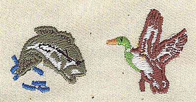 Embroidery Design: Fish and Duck 2.94w X 1.06h
