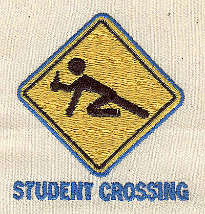Embroidery Design: Student Crossing sign 2.06w X 2.19h