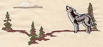 Embroidery Design: Wolf howling 7.12w X 3.48h
