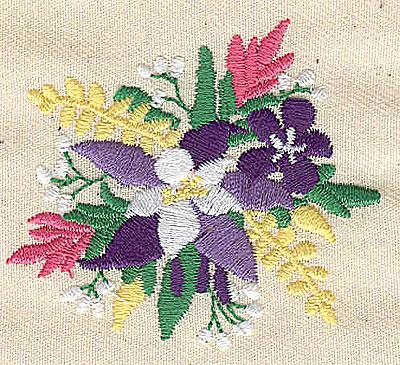 Embroidery Design: Floral Bouquet 2.94w X 2.06h