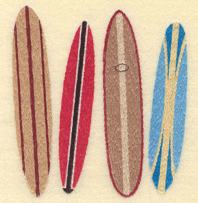 Embroidery Design: Four Surf Boards4.83w X 5.38h