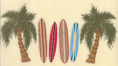 Embroidery Design: Palm Trees with Four Surf Boards11.6w X 6.04h