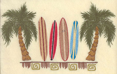 Embroidery Design: Palm Trees w/ Surf Boards & Motif11.6w X 6.97h