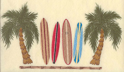 Embroidery Design: Palm Trees w/ Surf Boards & Bamboo11.6w X 6.41h