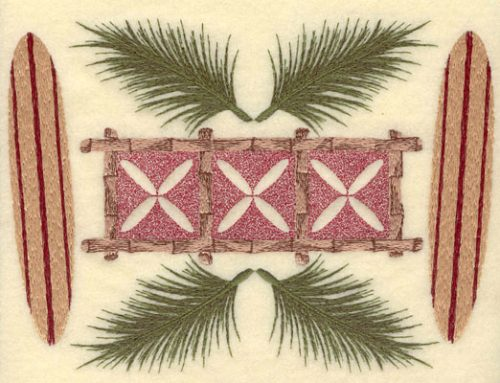 Embroidery Design: Palm Fronds Bamboo Motif & Surf-boards8.26w X 6.06h