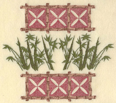 Embroidery Design: Bamboo with Leaves and Motif8.63w X 7.58h