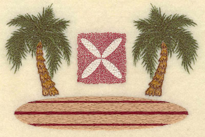 Embroidery Design: Palm Trees w/ Square Motife & Board5.96w X 3.89h