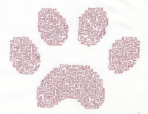Embroidery Design: Stipple Paw High4.86w X 3.81h