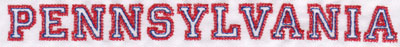 "Embroidery Design: Pennsylvania Name0.77"" x 8.02"""