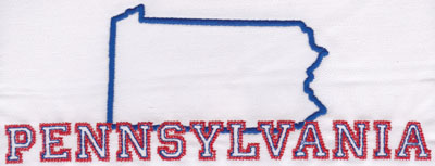 """Embroidery Design: Pennsylvania Outline and Name3.02"""" x 8.01"""""""