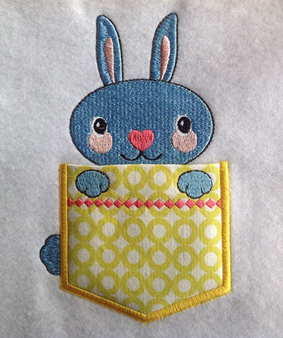 Embroidery Design: Pocket Topper Bunny 3.71w X 5.98h