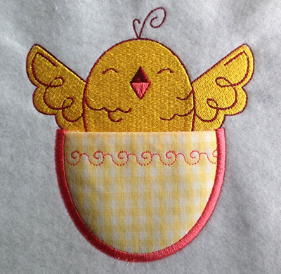 Embroidery Design: Pocket Topper Chick 4.27w X 4.70h