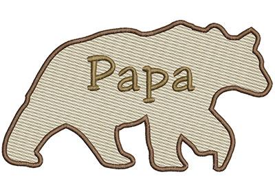 Embroidery Design: Papa Bear Sm 6.97w X 3.91h