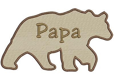 Embroidery Design: Papa Bear Lg 8.66w X 4.86h
