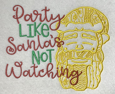 Embroidery Design: Party Like Santa Lg 6.36w X 5.28h
