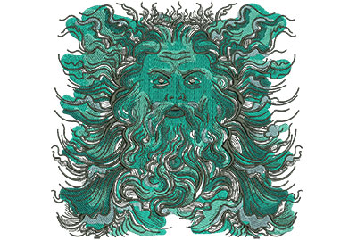 Embroidery Design: Poseidon Lg Low Density 8.22w X 7.85h
