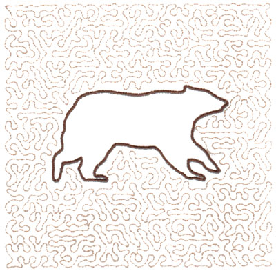 "Embroidery Design: Bear Quilt Square (Large Stipple)5.97"" x 5.95"""