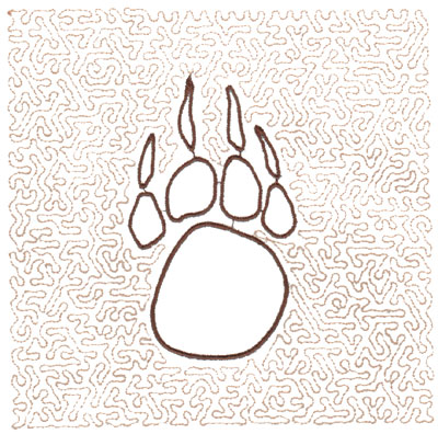 "Embroidery Design: Paw Quilt Square (Medium Stipple)5.96"" x 5.96"""