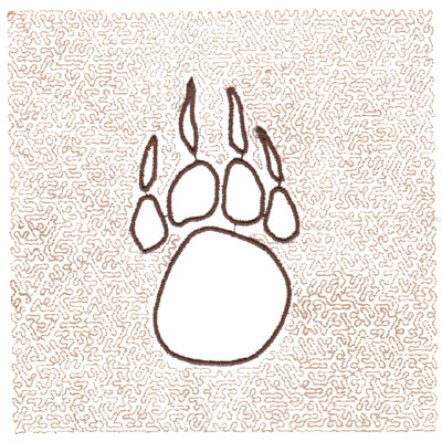 "Embroidery Design: Paw Quilt Square (Small Stipple)5.97"" x 5.97"""