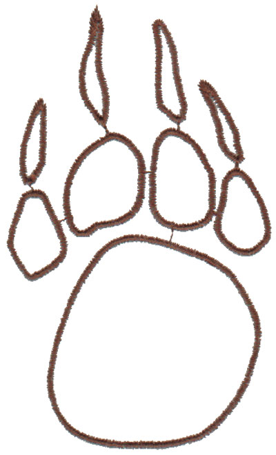 "Embroidery Design: Paw Outline2.41"" x 4.08"""