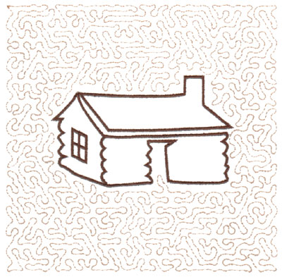 "Embroidery Design: Log House Quilt Square (Large Stipple)5.98"" x 5.94"""