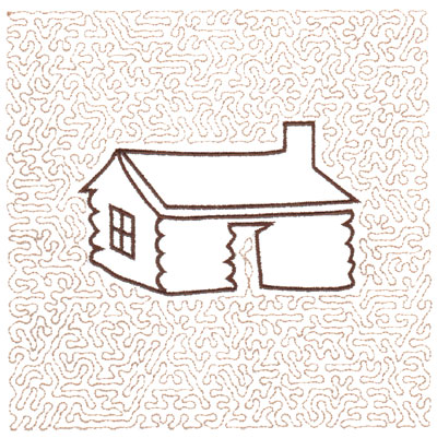 "Embroidery Design: Log House Quilt Square (Medium Stipple)5.98"" x 5.95"""