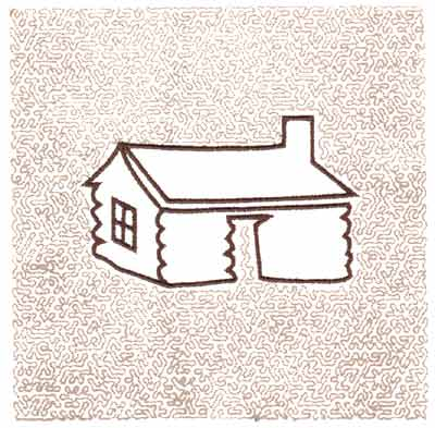 "Embroidery Design: Log House Quilt Square (Small Stipple)5.98"" x 5.97"""