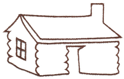"""Embroidery Design: Log House Outline4.02"""" x 2.49"""""""