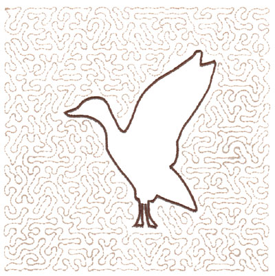 "Embroidery Design: Goose Quilt Square (Large Stipple)5.95"" x 5.95"""