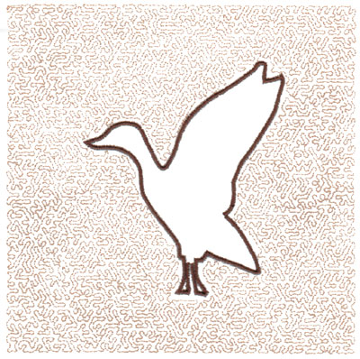 "Embroidery Design: Goose Quilt Square (Small Stipple)5.98"" x 5.98"""